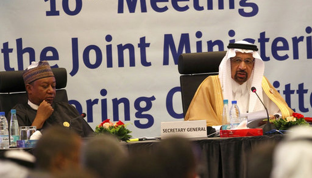 Khalid Al-Falih, the minister of energy, industry and mineral resources of Saudi Arabia, center, speaks during an OPEC meeting in Algiers on Sept. 23, 2018. (AP/Anis Belghoul)
