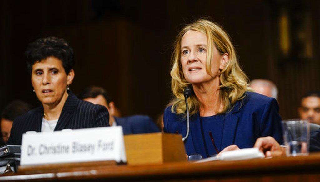 Christine Blasey Ford testifies at a Senate Judiciary Committee hearing on Sept. 27, 2018. (Melina Mara/Pool/The Washington Post)