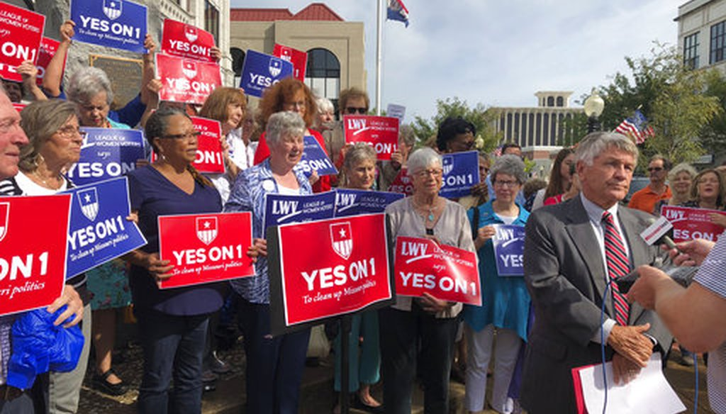 Supporters of a 2018 redistricting ballot measure in Missouri gathered in Jefferson City, Mo. (AP)