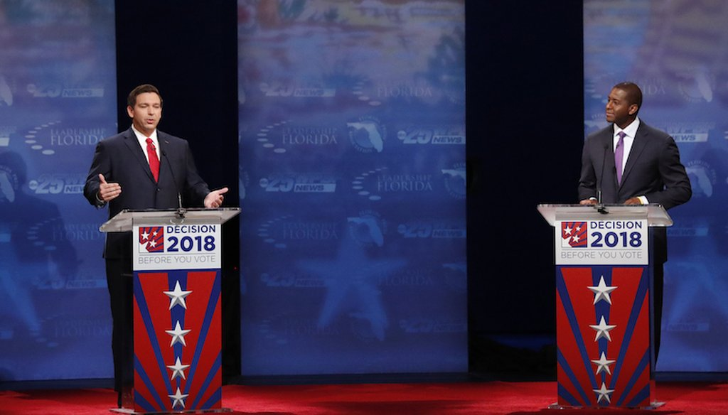 Florida gubernatorial candidate Republican Ron DeSantis speaks as he and Democrat Andrew Gillum debate Oct. 24, 2018, at Broward College in Davie, Fla.  (AP)
