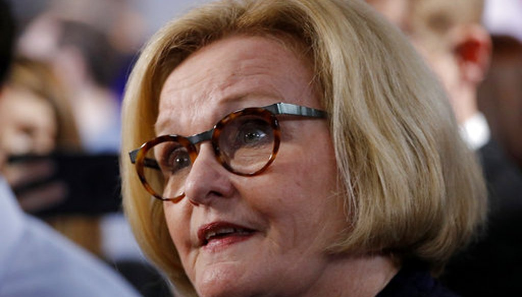 Missouri incumbent Democratic Sen. Claire McCaskill talks to the media after a debate against Republican challenger Josh Hawley on Oct. 25, 2018, in Kansas City, Mo. (AP/Charlie Riedel)