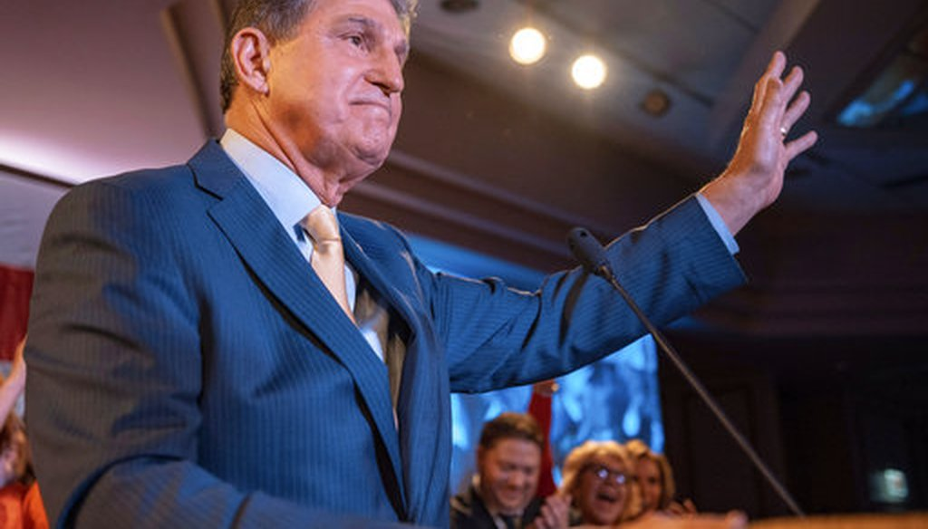 Sen. Joe Manchin, D-W.Va., speaks to supporters after being reelected on Nov. 6, 2018, in Charleston W.Va. (AP)