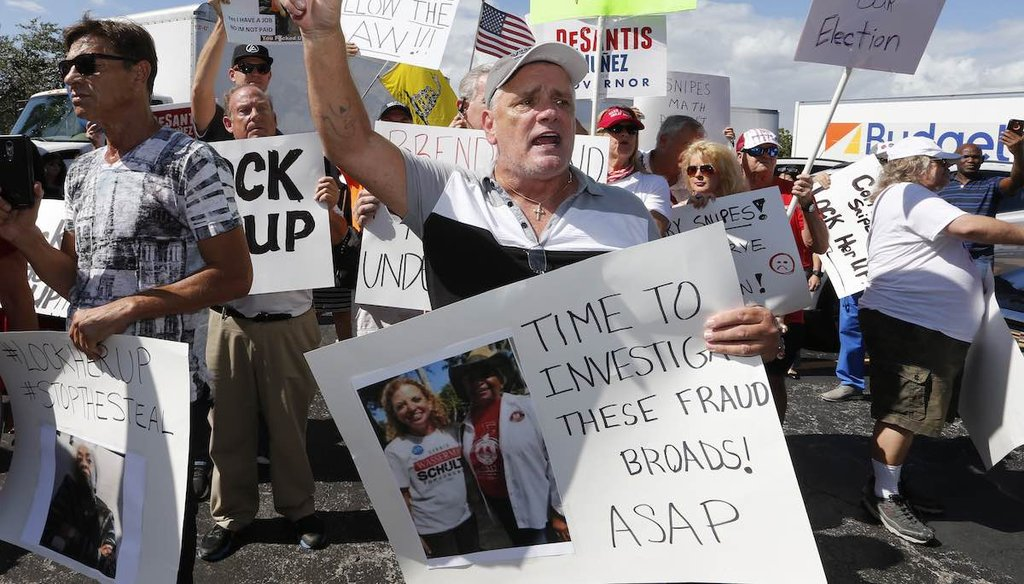 A crowd protests outside the Broward County Supervisor of Elections office in Lauderhill, Fla., on Nov. 9, 2018. (AP)
