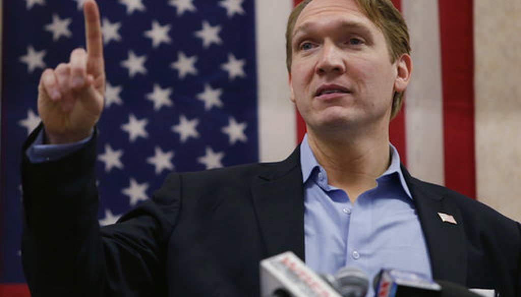 Democratic congressional candidate Nate McMurray speaks to supporters, in Hamburg, N.Y., during his 2018 run for Congress. He is running again in the western New York district in 2020. (AP)