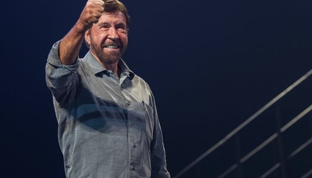 Chuck Norris appears at fundraising event in Budapest, in November 2018 (AP).