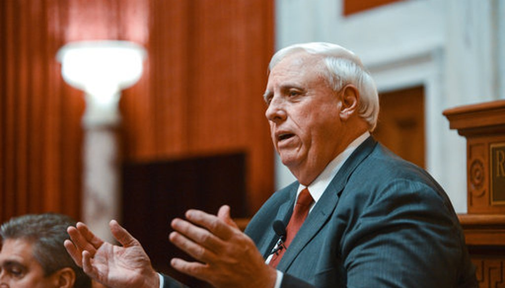 Gov. Jim Justice, R. W.Va., delivers his annual State of the State speech on Jan. 9, 2019. (AP)