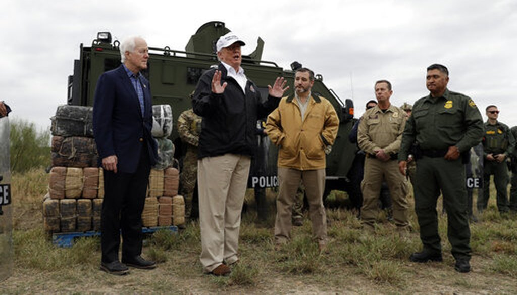 President Donald Trump speaks to the media as he tours the U.S. border with Mexico at the Rio Grande on the southern border, Thursday, Jan. 10, 2019, in McAllen, Texas. (AP Photo/ Evan Vucci)