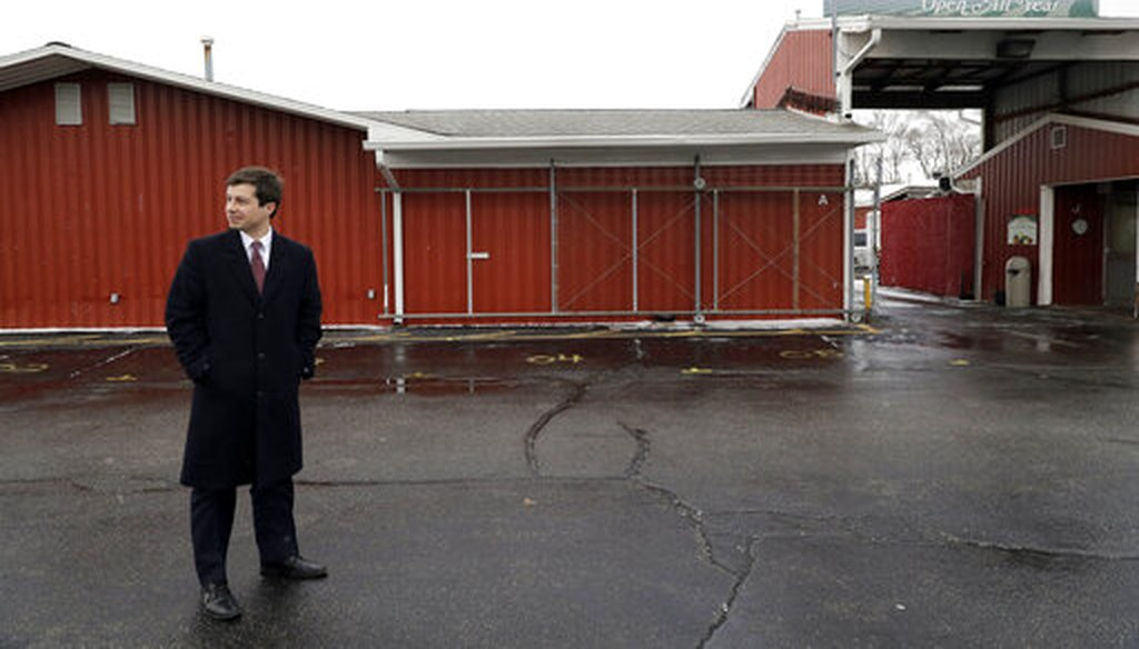 Mayor Pete Buttigieg looks around at a Farmers' Market in South Bend, Ind., on Jan. 10, 2019. (AP)