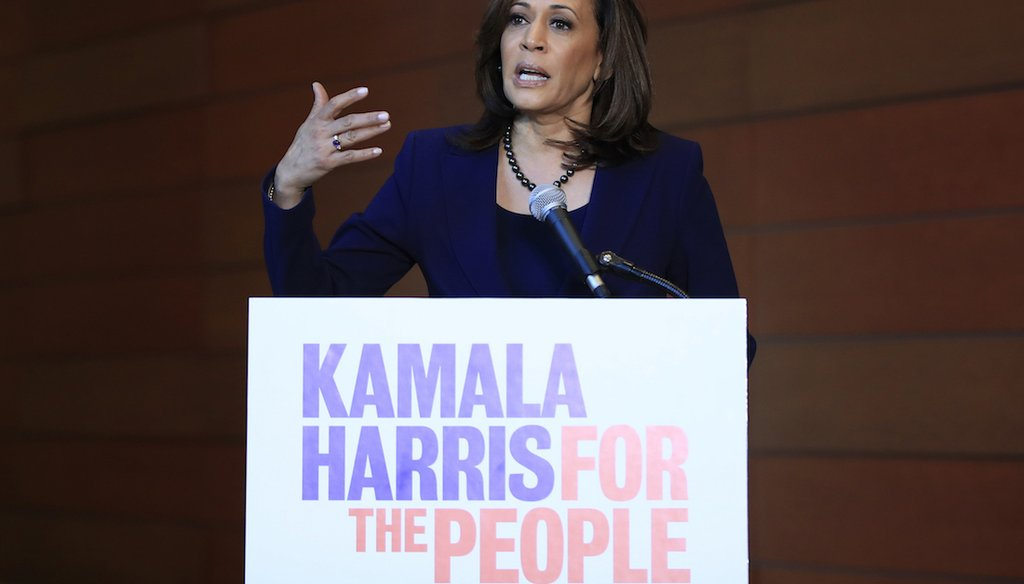 Sen. Kamala Harris, D-Calif., speaks to the media at her alma mater, Howard University, on Jan. 21, 2019,  following her announcement earlier in the morning that she will run for president. (AP)