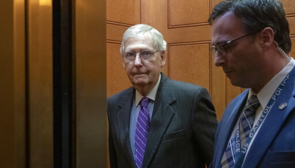 Senate Majority Leader Mitch McConnell, R-Ky., takes an elevator after leaving the chamber, at the Capitol in Washington, Wednesday, Jan. 23, 2019. (AP Photo/J. Scott Applewhite)