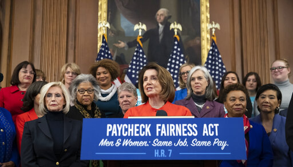 Speaker of the House Nancy Pelosi, D-Calif., joined at left by Lilly Ledbetter, an activist for workplace equality, speaks at an event to advocate for the Paycheck Fairness Act, Jan. 30, 2019. (AP Photo/J. Scott Applewhite)
