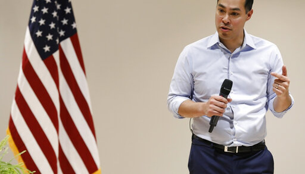 Julian Castro, former secretary of Housing and Urban Development, and candidate for the 2020 Democratic presidential nomination, speaks during a town hall meeting at Grand View University, Feb. 21, 2019, in Des Moines, Iowa. (AP Photo/Charlie Neibergall)