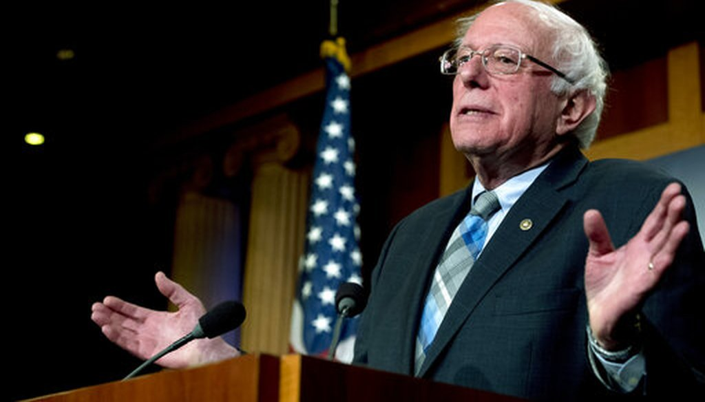 Sen. Bernie Sanders, I-Vt., speaks at a news conference on Capitol Hill in Washington on In this Jan. 30, 2019 (AP)