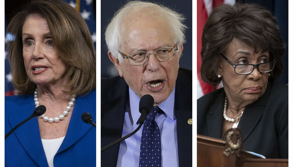 This combination of 2019 file photos shows House Speaker Nancy Pelosi, Sen. Bernie Sanders and House Financial Services Committee Chair Maxine Waters. (AP)