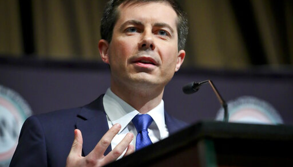 Democratic presidential candidate Pete Buttigieg addresses the National Action Network convention in New York City on April 4, 2019. (AP)