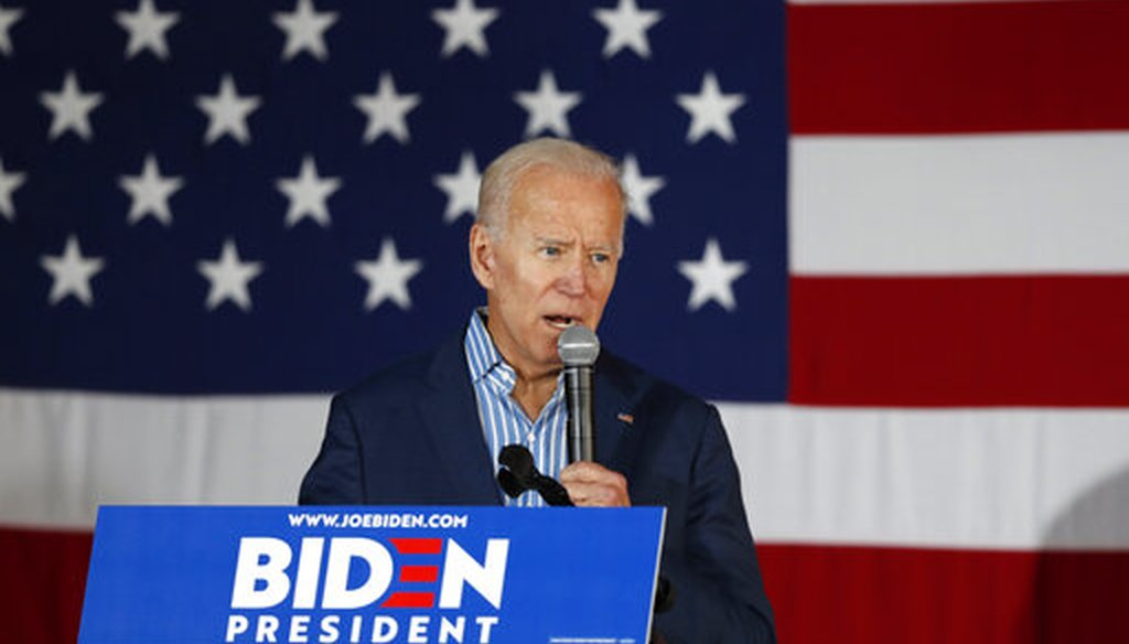 Former Vice President and Democratic presidential candidate Joe Biden speaks during a rally, Wednesday, May 1, 2019, in Iowa City, Iowa. (AP Photo)
