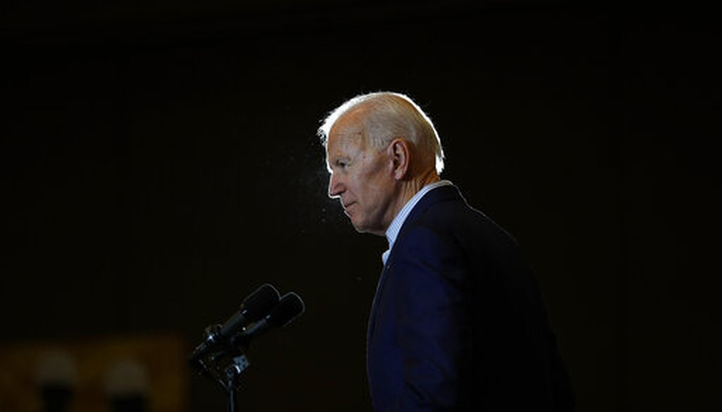 Former Vice President and Democratic presidential candidate Joe Biden speaks at a rally with members of a painters and construction union May 7, 2019, in Henderson, Nev. (AP)