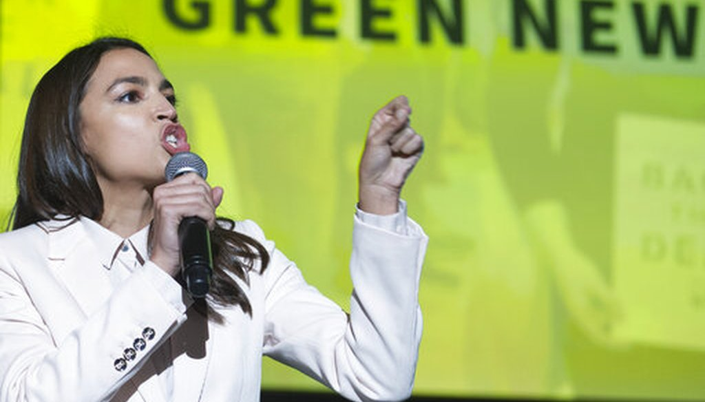 Rep. Alexandria Ocasio-Cortez, D-N.Y., addresses a Road to the Green New Deal Tour in Washington, D.C., on May 13, 2019. (AP)