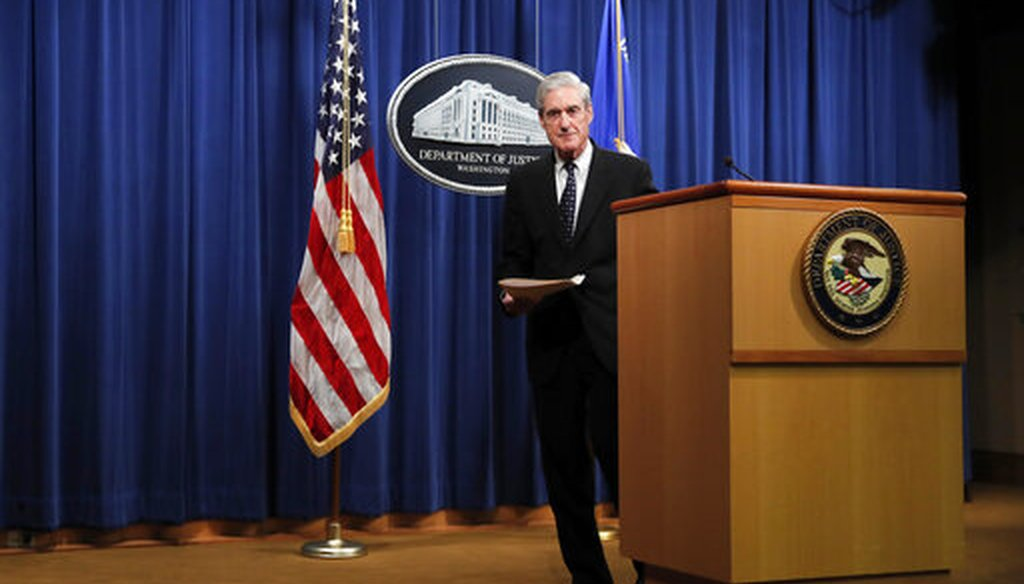 Special counsel Robert Muller walks from the podium after speaking at the Department of Justice, May 29, 2019, about the Russia investigation. (AP/Carolyn Kaster)