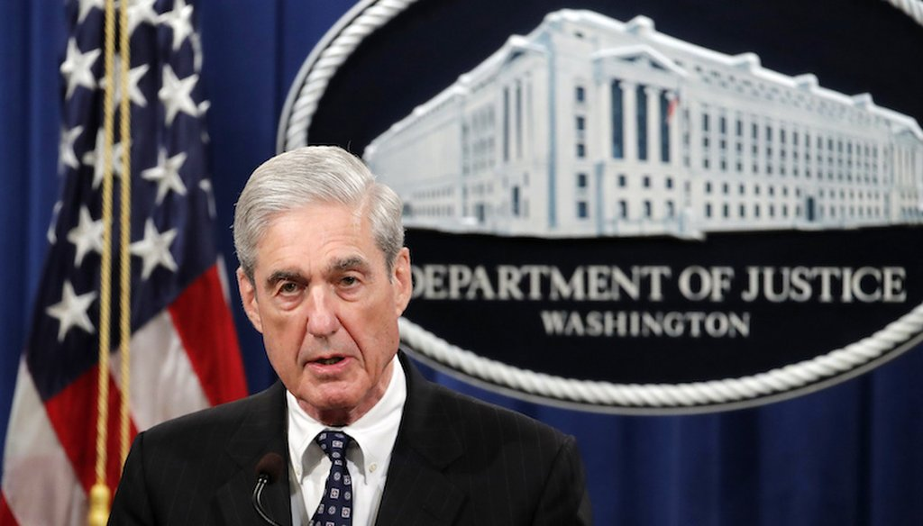 Special counsel Robert Mueller speaks at the U.S. Justice Department on May 29, 2019, about the Russia investigation. (AP)