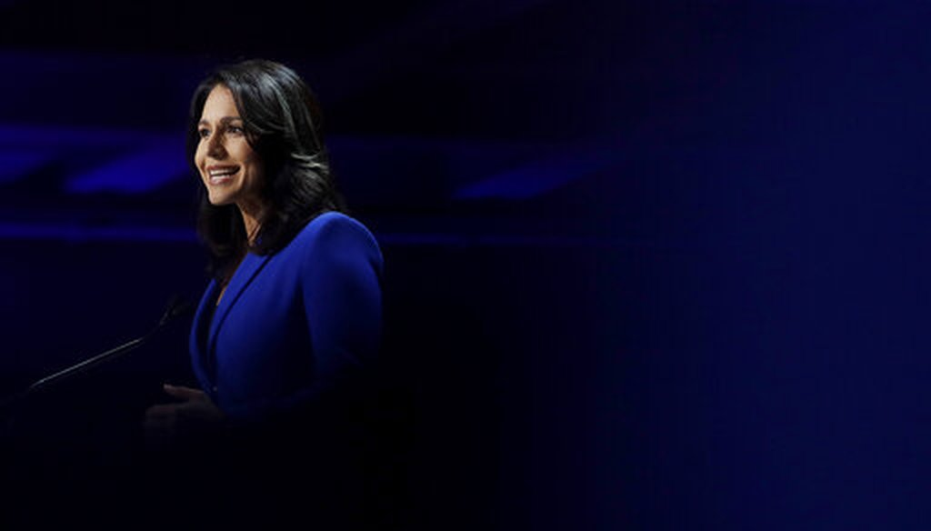 Democratic presidential candidate Rep. Tulsi Gabbard, D-Hawaii, speaks during the 2019 California Democratic Party State Organizing Convention in San Francisco, June 1, 2019. (AP/Jeff Chiu)