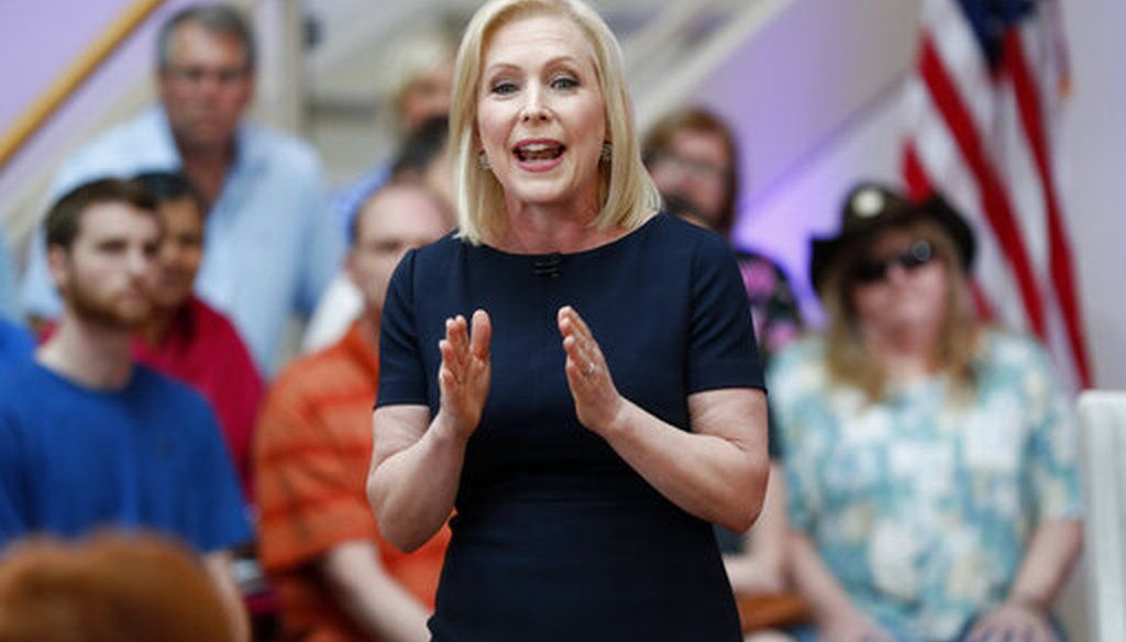 Democratic presidential candidate Sen. Kirsten Gillibrand speaks during a FOX News town hall, Sunday, June 2, 2019, in Dubuque, Iowa (AP).