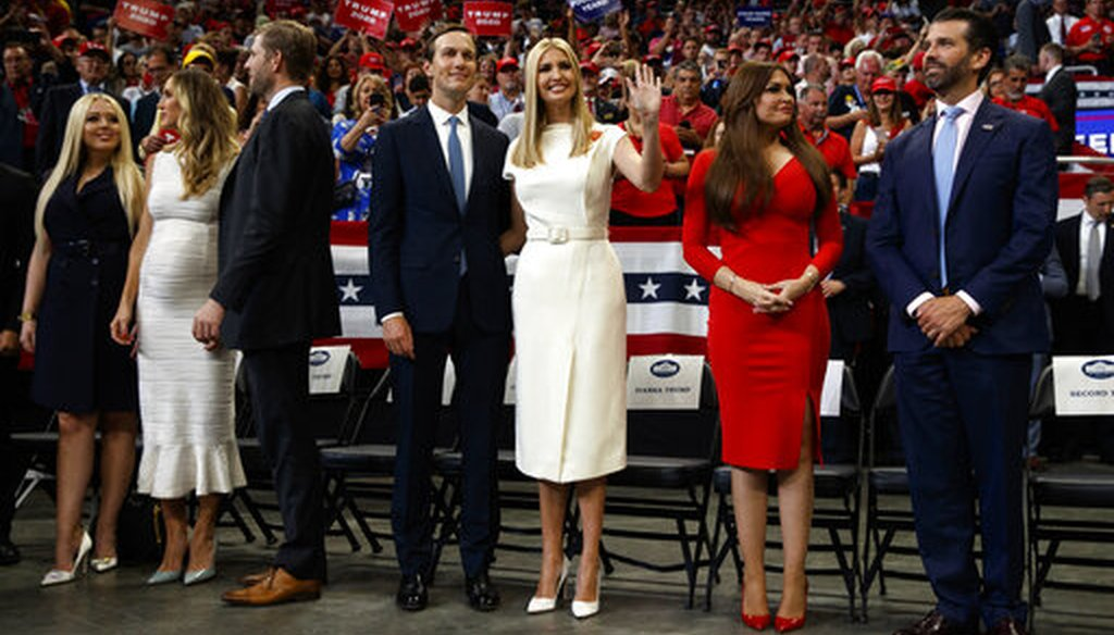 Tiffany Trump, Lara Trump and Eric Trump, Jared Kushner and Ivanka Trump, and Kimberly Guilfoyle and Donald Trump Jr. watch as President Donald Trump speaks at his re-election kickoff rally at the Amway Center on June 18, 2019. (AP)