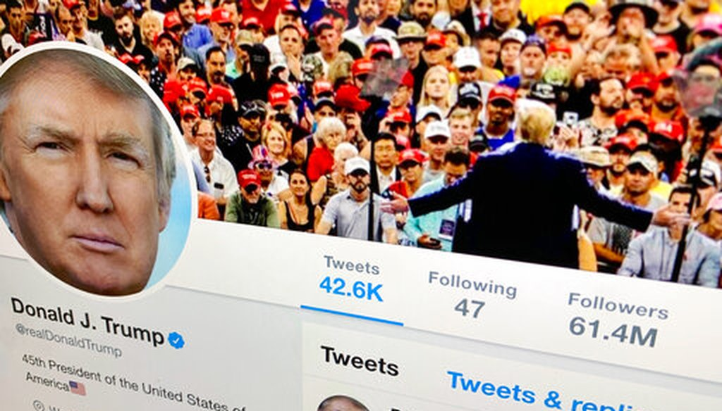President Donald Trump's Twitter feed is shown on a computer screen on June 27, 2019, in New York. (AP/Kane)