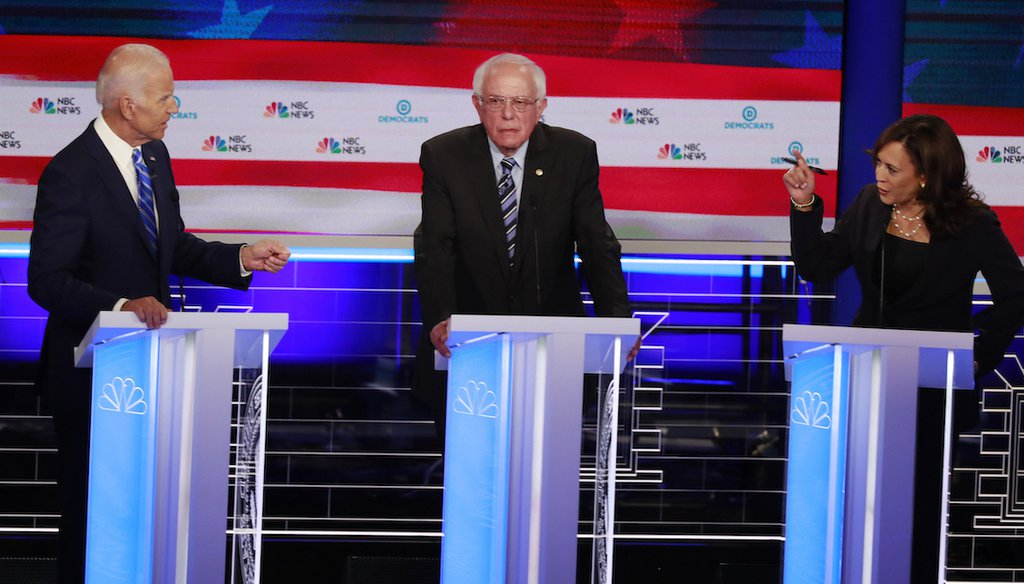 President Joe Biden and Vice President Kamala Harris, then rival Democratic candidates for president, sparred during a primary debate on June 27, 2019, in Miami. (AP)
