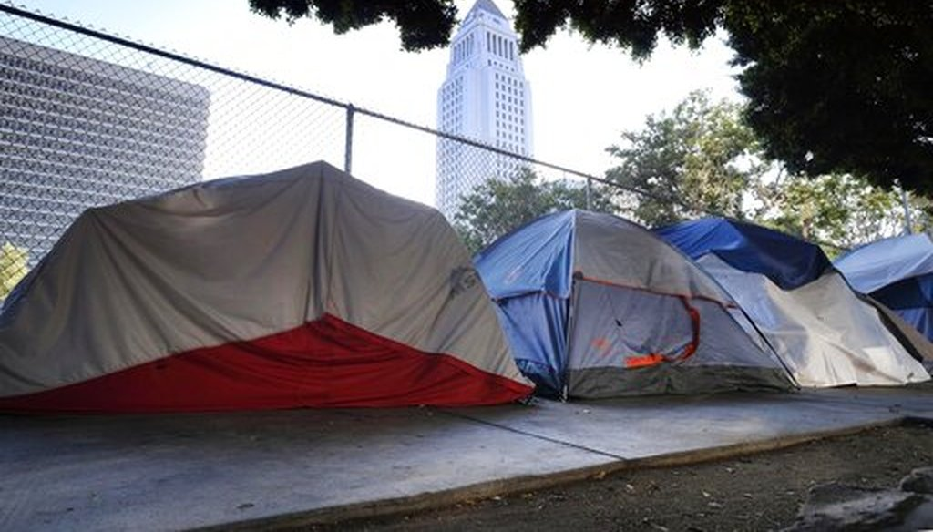Los Angeles City Hall is seen behind a homeless tent encampment along a street in downtown Los Angeles on July 1, 2019. (AP/Vogel)
