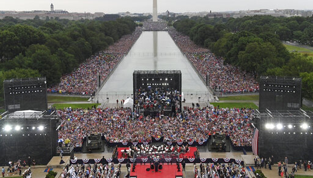 President Donald Trump speaks during an Independence Day celebration in front of the Lincoln Memorial in Washington, Thursday, July 4, 2019. (AP Photo/Susan Walsh, Pool)