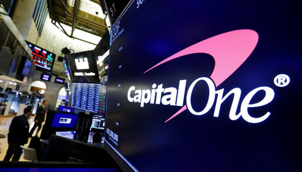 In this Tuesday, July 30, 2019, file photo, the logo for Capital One Financial appears above a trading post on the floor of the New York Stock Exchange. (AP)
