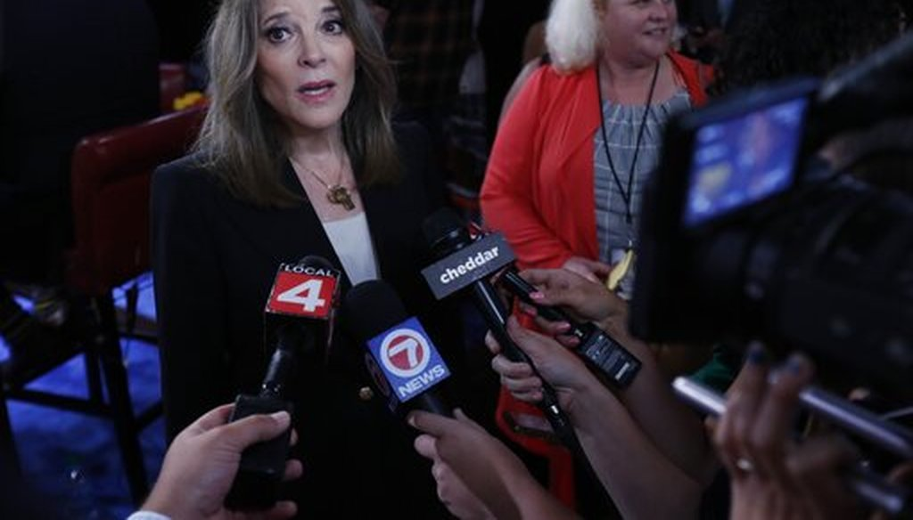 Marianne Williamson talks to reporters after the Democratic presidential primary debate hosted by CNN on July 30, 2019, in Detroit. (AP/Osorio)