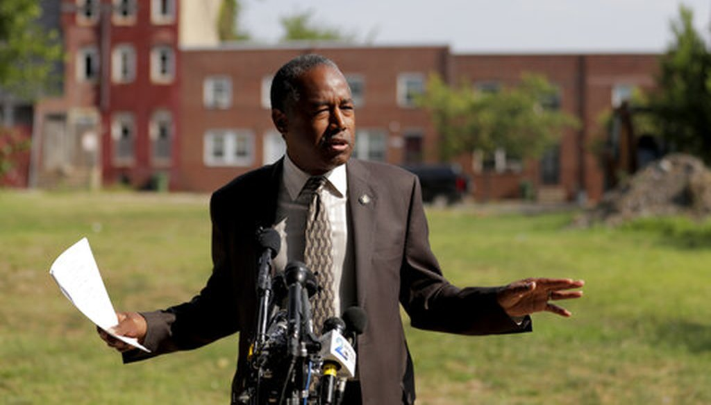 Housing and Urban Development Sec. Ben Carson speaks during a trip to Baltimore, July 31, 2019. (AP Photo)