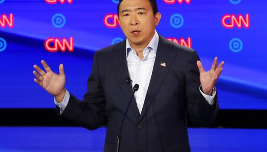 Andrew Yang participates in a Democratic presidential primary debate on July 31, 2019, in Detroit. (AP)