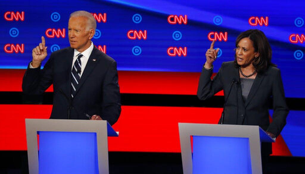 Former Vice President Joe Biden and Sen. Kamala Harris, D-Calif., participate in a Democratic presidential primary debate on July 31, 2019, in Detroit. (AP/Sancya)