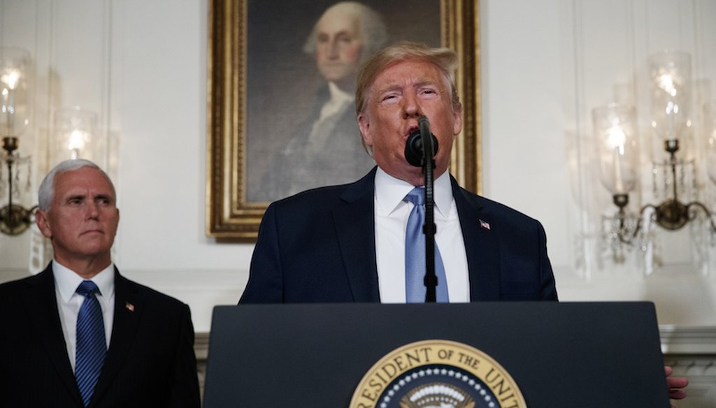 Vice President Mike Pence listens as President Donald Trump speaks about the mass shootings in El Paso, Texas, and Dayton, Ohio, in the Diplomatic Reception Room of the White House on Aug. 5, 2019, in Washington.  (AP)