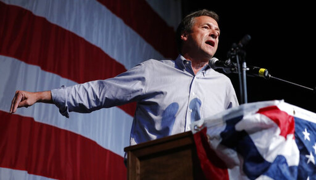 Democratic presidential candidate Steve Bullock speaks at the Iowa Democratic Wing Ding at the Surf Ballroom, in Clear Lake, Iowa, Aug. 9, 2019. (AP)