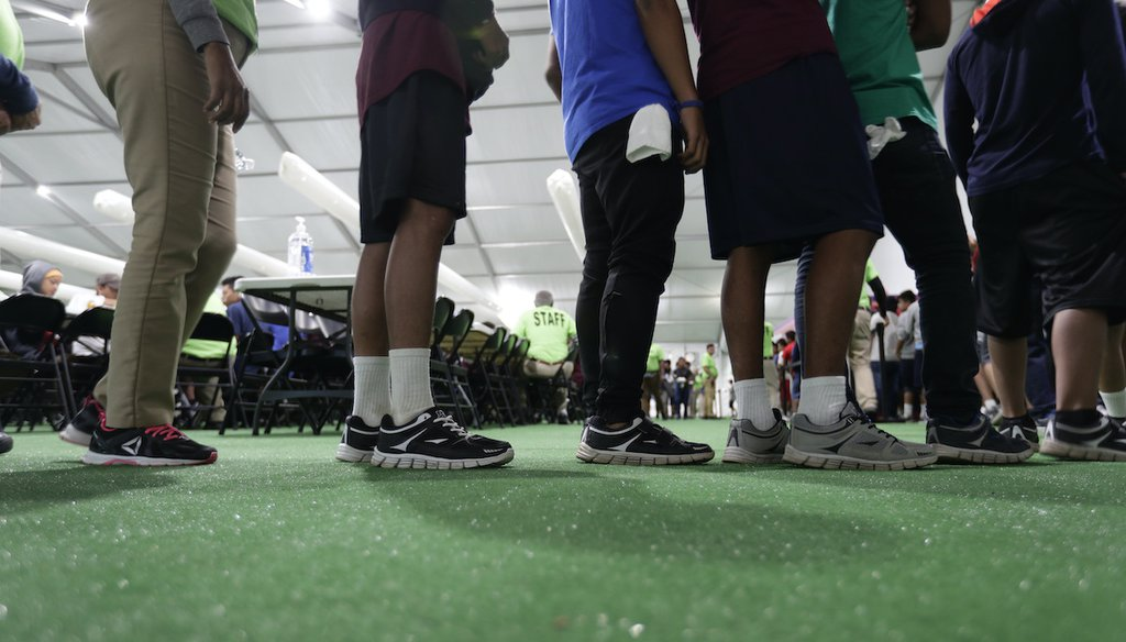 In this July 9, 2019 photo, immigrant children line up in the dining hall at the Carrizo Springs, Texas facility. (AP)