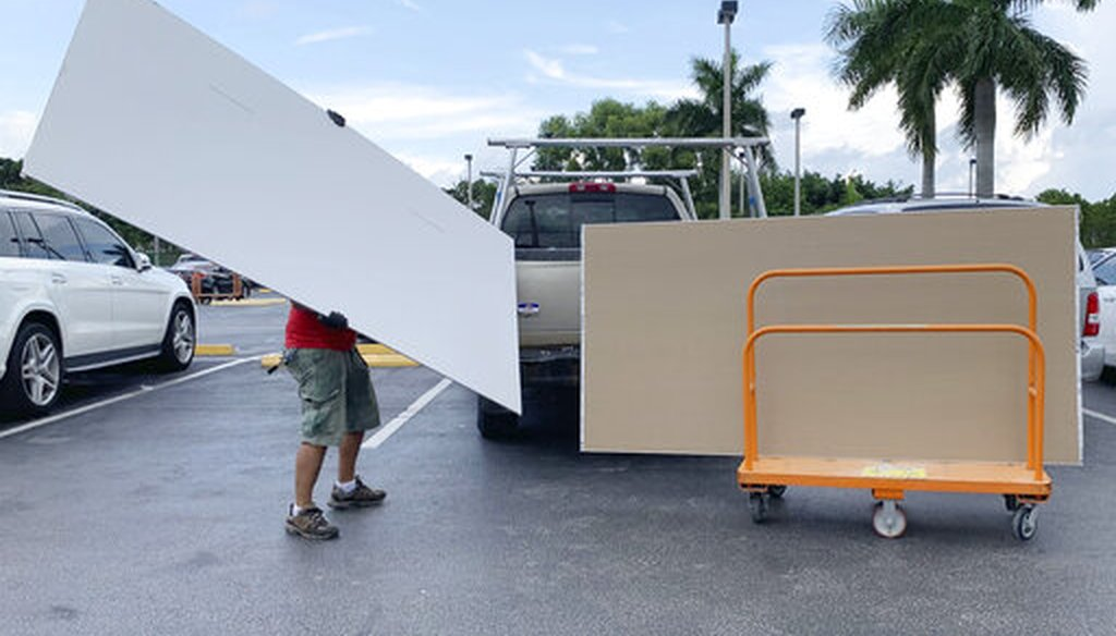 Shoppers prepare ahead of Hurricane Dorian at the Home Depot on Aug. 29, 2019, in Pembroke Pines, Fla. (AP)