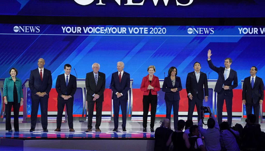 Democratic presidential candidates are introduced Sept. 12, 2019, before a Democratic presidential primary debate hosted by ABC at Texas Southern University in Houston. (AP)