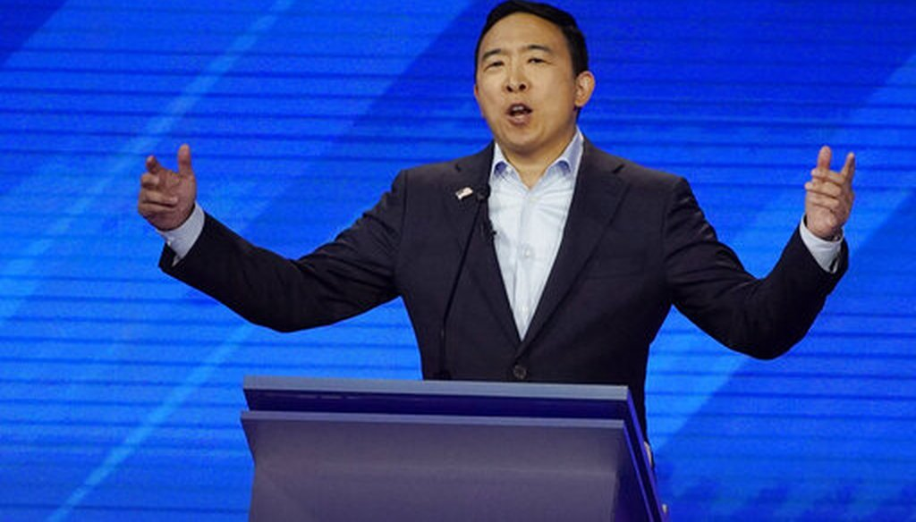 Democratic presidential candidate entrepreneur Andrew Yang speaks on Sept. 12, 2019, during a Democratic presidential primary debate in Houston. (AP)