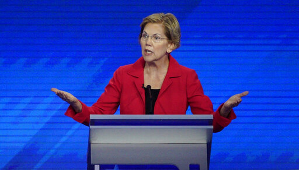 Sen. Elizabeth Warren, D-Mass., speaks Sept. 12, 2019, during a Democratic presidential primary debate hosted by ABC at Texas Southern University in Houston. (AP)
