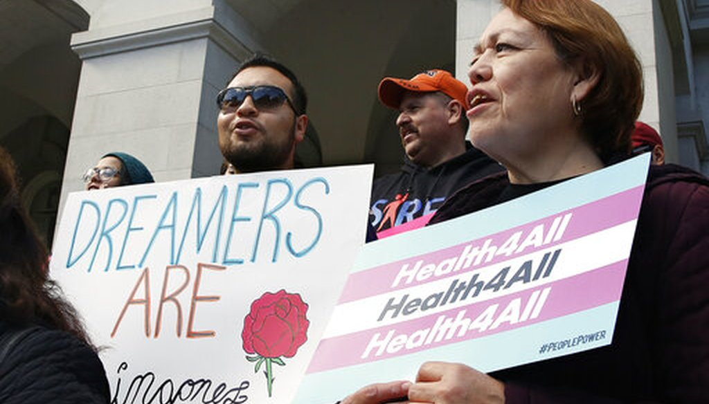 Supporters of proposals to expand California's government-funded health care benefits to undocumented immigrants gathered in 2019 to lobby at the state capitol. (AP)