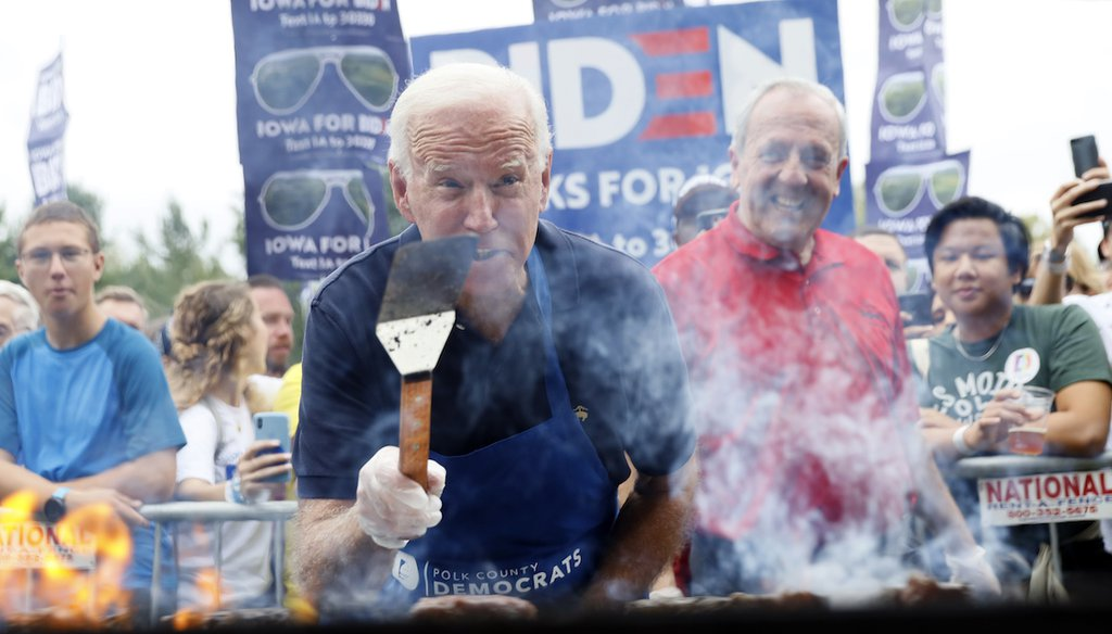 President Joe Biden, then a candidate for president, worked the grill during the Polk County Democrats Steak Fry on Sept. 21, 2019, in Des Moines, Iowa. (AP/Neibergall)