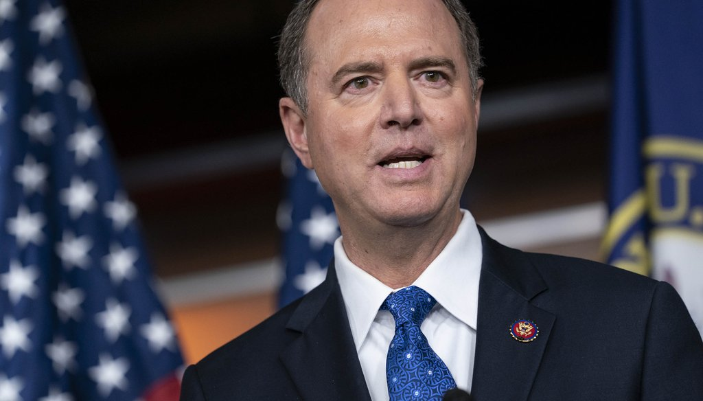 House Intelligence Committee Chairman Adam Schiff, D-Calif., talks to reporters about the release by the White House of a transcript of a call between President Donald Trump and Ukrainian President Voldymyr Zelensky on Sept. 25, 2019. (AP)