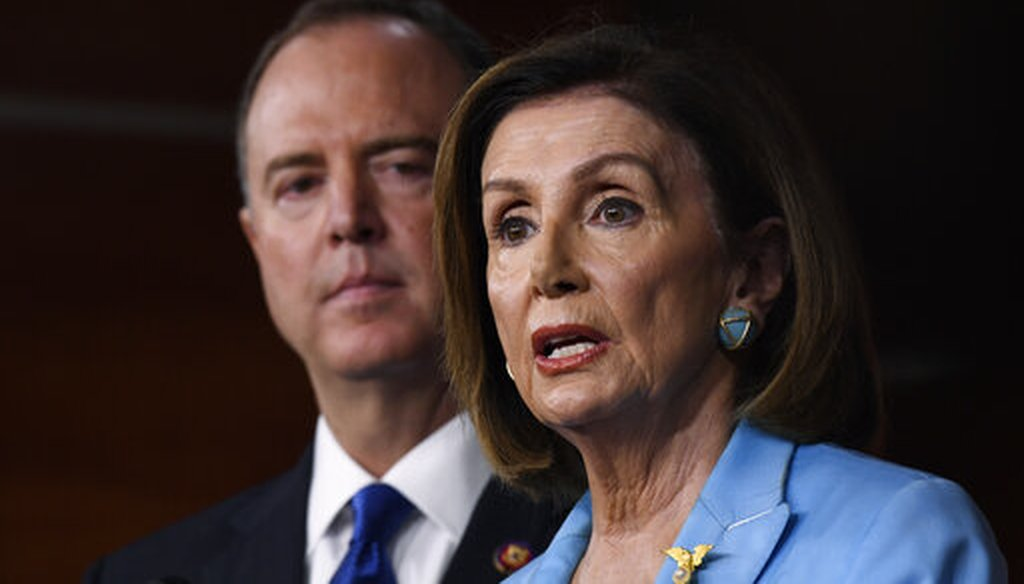 House Speaker Nancy Pelosi, D-Calif., joined by House Intelligence Committee Chairman Rep. Adam Schiff, D-Calif., speaks during an Oct. 2, 2019, news conference on Capitol Hill in Washington. (AP/Walsh)