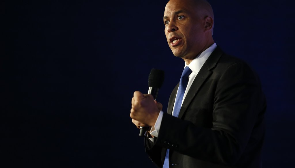 Democratic presidential candidate Sen. Cory Booker, D-N.J., speaks in SEIU Unions For All Summit on Oct. 4, 2019, in Los Angeles. (AP)