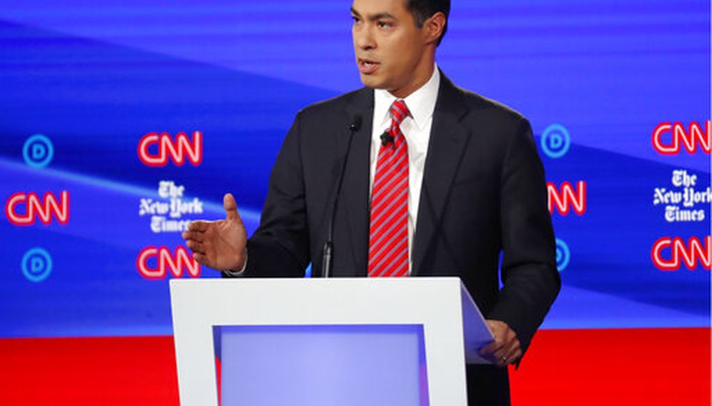 Julian Castro speaks during a Democratic primary debate on Oct. 15, 2019, in Westerville, Ohio. (AP)