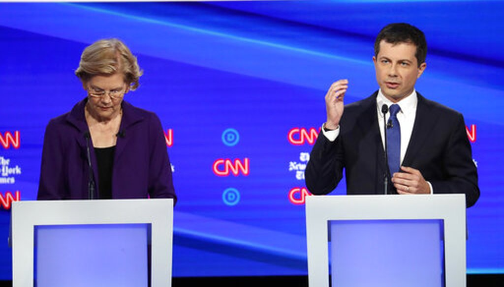 Elizabeth Warren and Pete Buttigieg sparred over health care during a Democratic presidential debate on Oct. 15, 2019, in Westerville, Ohio. (AP)